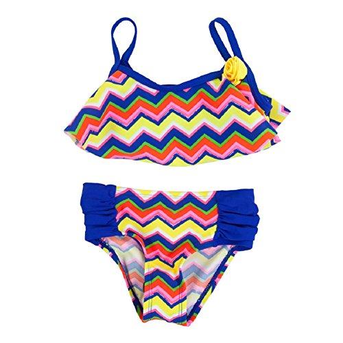 Flapdoodles Girls 4-6X 2-piece Zig-Zag Swimsuit (6, Multi) ()
