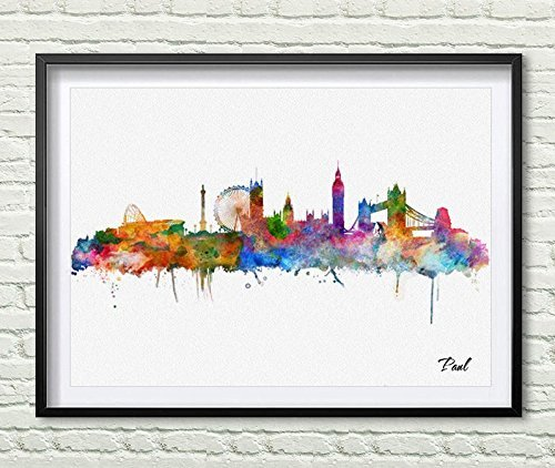 Amazon.com: London Skyline City Poster Watercolor Painting London ...