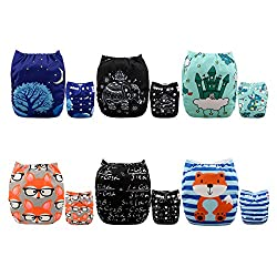 ALVABABY New Positioning and Printed Design Reuseable Washable Pocket Cloth Diaper 6 Nappies + 12 Inserts 6DM39