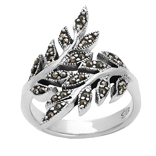 Silverly Women's .925 Sterling Silver Simulated Marcasite Oxidised Overlapping Leaf Branch (Sterling Silver Marcasite Art)