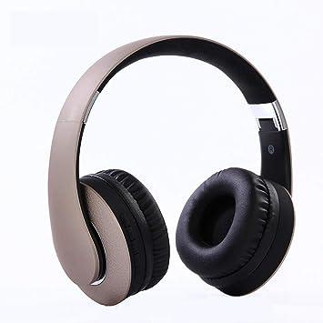 WERNG Auriculares Inalámbricos Bluetooth Juego Auriculares Ordenador Universal Mini Plegado Auriculares Bluetooth,Gold