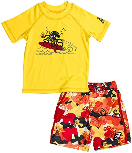 LAGUNA Boys Octopus Set With Yellow Printed Rash Guard Swim Shirt and Octopus Printed Elastic Fashion Boardshorts Bathing Suit