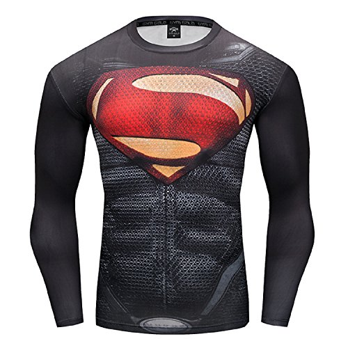 GYMGALA Superman Men Long Sleeve Fitness Compression Shirt