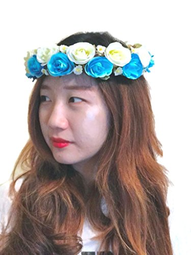Rose Flower Tiara Wreath Crown Headband (A3) (Blue)