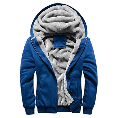 Jackets Zip Plus Warm Fleece Hood Size Sky with Thicken Mogogo Men's Blue Fit XvxO5fwwAq