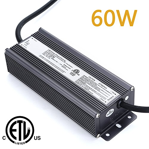 Weanas 60W LED Power Supply Driver Transformer Adapter ETL Listed IP66 Waterproof 110V AC to 12V DC 5A Constant Voltage for LED Light Bulb Forward Phase Magnetic Low Voltage and Triac Dimmers