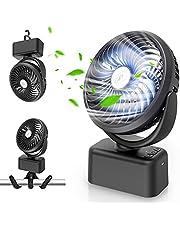 Towkka Portable Camping Fan with LED Lights, 4 in 1 Design Desk Fan with 350°Kunstleder, Industriestil, vintagebraun-schwarz LSB50BX