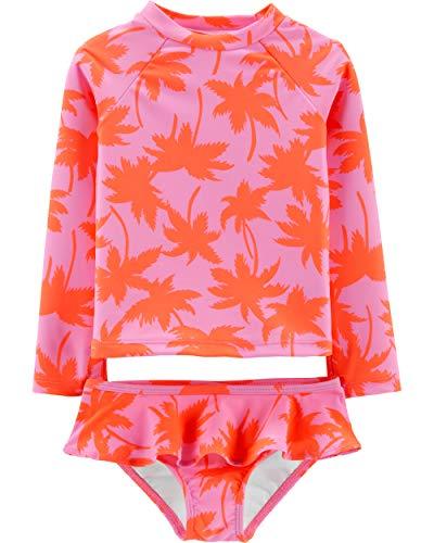 (Osh Kosh Toddler Girls' Two-Piece Swimsuit, Palm Rashguard, 2T)