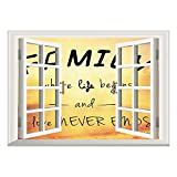inspiring nfl wall decals  3D Depth Illusion Vinyl Wall Decal Sticker/Family,Inspiring Message About Family Life and Love on Dreamy Backdrop Wisdom,Yellow Marigold Black/Wall Sticker Mural