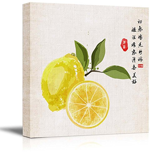 Square Watercolor Style Chinese Painting of Yellow Lemons