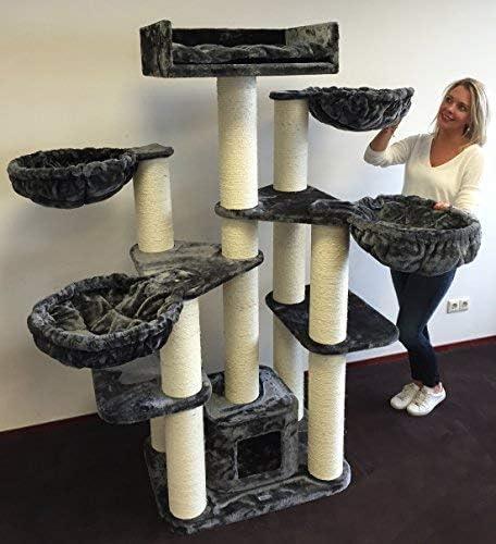 Rascador para gatos grandes Maine Coon Fantasy Gris oscuro baratos arbol xxl gato adultos con hamaca gigante sisal muebles escalador torre Árboles rascadores cama cueva repuesto medianos: Amazon.es: Productos para mascotas
