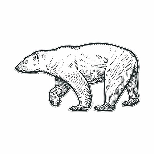 Polar Bear Pencil Drawn Full Color Full Color Vinyl Decal - Sized for Stainless Steel ()