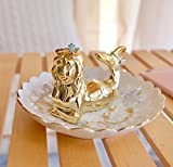PUDDING CABIN Mermaid Ring Dish Holder for Jewelry Trinket Tray Rings Earring Display Holder Stand