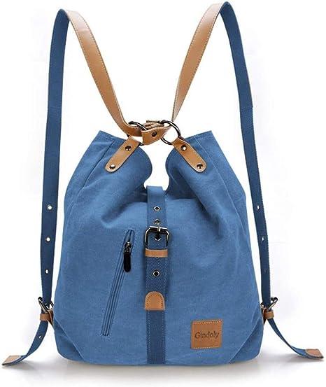 Gindoly Stilvolle Damen Canvas Handtasche Rucksack Umhangetasche 3 In 1 Grosse Multifunktionale Tasche Fur Arbeit Schule Alltag Blau Amazon De Koffer Rucksacke Taschen