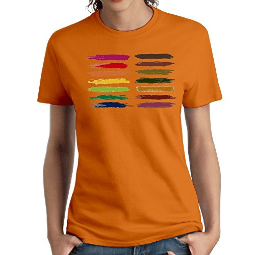 (Jac Jie Women's Cotton Short-Sleeved T-Shirt New Original Design Painted Logo Orange XL)
