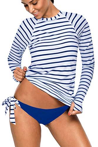 REKITA Womens Long Sleeve Rashguard Shirt Color Block Print Tankini Swimsuit (XL, Stripes-Navy Blue) (Guard Stripe Tie)