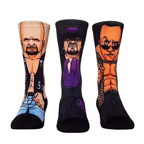 WWE Superstar Sock Packs by Rock 'Em (L/XL, WWE Attitude Era - 3 Pack - Stone Cold - Undertaker - The Rock) (Madcatz Wwe)