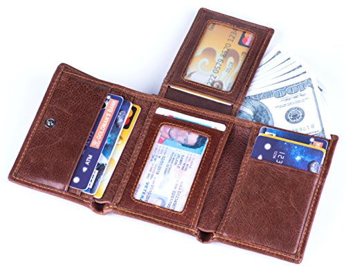 RFID Blocking Genuine Cowhide Leather Trifold Card Wallet for Men With 2 ID Window (Dark brown)