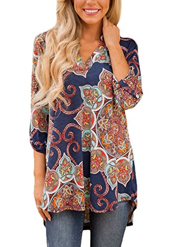 TrendiMax Women Cuffed 3/4 Sleeve Navy Gypsy Floral Print Slight V Neck Blouse Tunic Tops