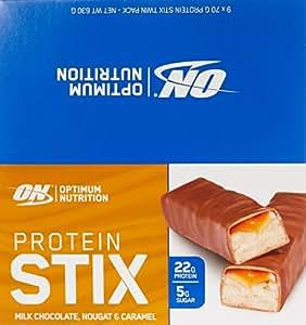 Optimum Nutrition Protein Stix Bars Nougat Caramel 70 Grams 9 Pack Protein Bars