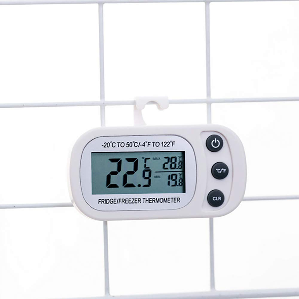 Blanco OurLeeme Term/ómetro para refrigerador Term/ómetro para congelador con Gancho 20 a 50 ℃ Pantalla LCD f/ácil de Leer Temperatura del refrigerador a Prueba de Agua