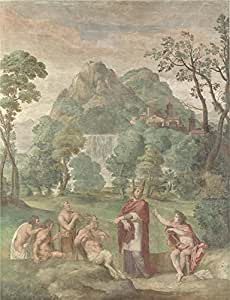 The high quality polyster Canvas of oil painting 'Domenichino and assistants The Judgement of Midas ' ,size: 10 x 13 inch / 25 x 33 cm ,this Reproductions Art Decorative Prints on Canvas is fit for Gym decoration and Home artwork and Gifts