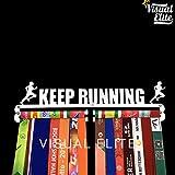 Visual Elite | Keep Running (VE-768) | Medal Hanger Hand-Forged Silver Chrome Finish Metal Hanger Design For Marathon, Running, Race, 5K, Etc. The Medal Hangers Collection
