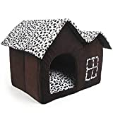 Luxury High-End Double Pet House Dog Room Dog Cat House 55 x 40 x 42 cm Brown For Sale