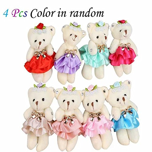 Sealive Lovely Skirt Diamond Teddy Bear 4.7In Joint Bear Plush Toys Cotton Doll Animal Toys Doll Baby Kids Toy,Great Wedding Gift Christmas Gift Birthday Gift for Boys and Girls(4Pcs,Random ()