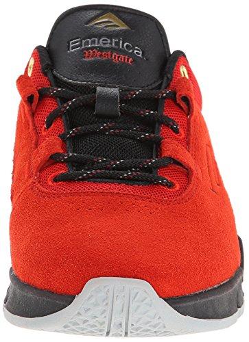 Emerica THE BRANDON WESTGATE - Zapatillas de skateboarding de cuero para hombre rojo y negro