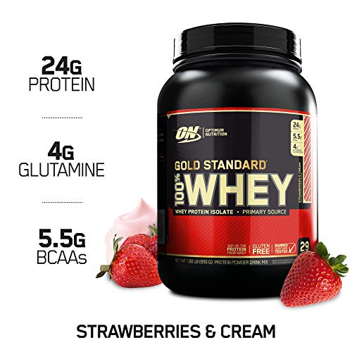 Optimum Nutrition Gold Standard 100% Whey Protein Powder, Strawberry & Cream, 2 Pound