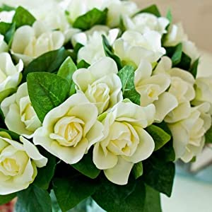ZAMTAC 25 Nostalgic Gardenia Floral Silk Flower Table Decoration Wedding Bouquets of Flowers Artificial Flower