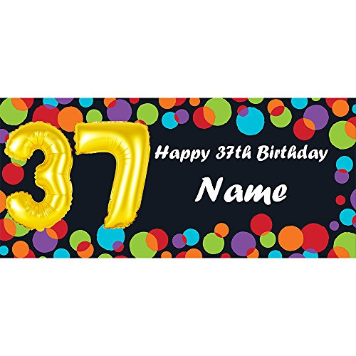 BALLOON 37TH BIRTHDAY CUSTOMIZED BANNER (EACH) customized by