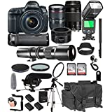 Canon EOS 5D Mark IV With 24-105mm f/4 L IS II USM + 75-300mm III + 50mm 1.8 STM + 500mm Telephoto Lenses + 128GB Memory + Pro Battery Bundle + TTL SpeedLight + Pro Filters,(26pc Bundle)