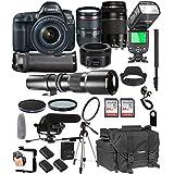 Canon EOS 5D Mark IV 24-105mm f/4 L is II USM + 75-300mm III + 50mm 1.8 STM + 500mm Telephoto Lenses + 128GB Memory + Pro Battery Bundle + TTL SpeedLight + Pro Filters,(26pc Bundle)