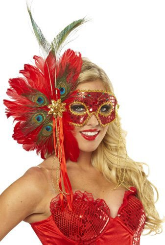 [Spanish Peacock Feather Mask] (Blue Mardi Gras Mask)