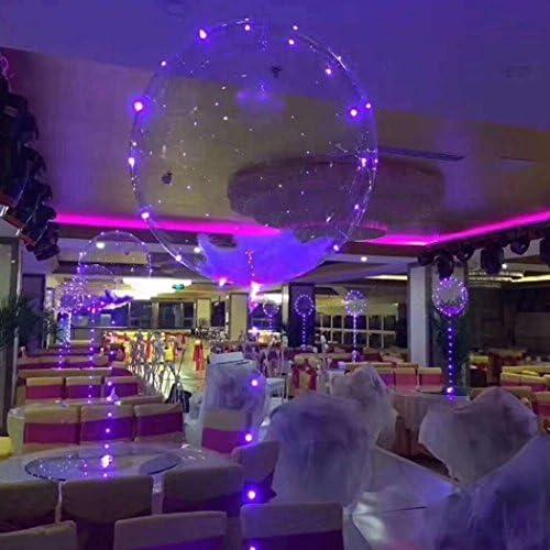 LEDヘリウムバルーン 風船 誕生日 結婚式 バレンタインに クリスマス 飾りホームデコレーション用銅線のLEDライト党装飾クリエイティブ多色光る風船で 5個18インチのクリアラテックスバルーン