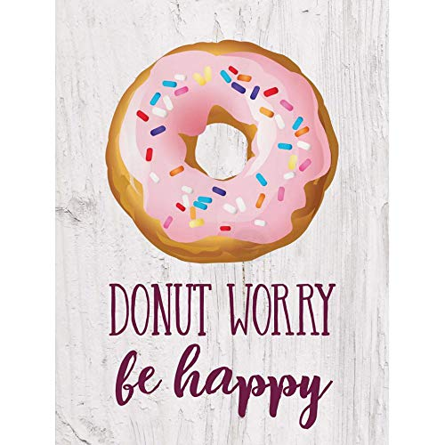 P. Graham Dunn Donut Worry Be Happy Cream 5 x 4 Pine Wood Decorative Tabletop Word Block Plaque