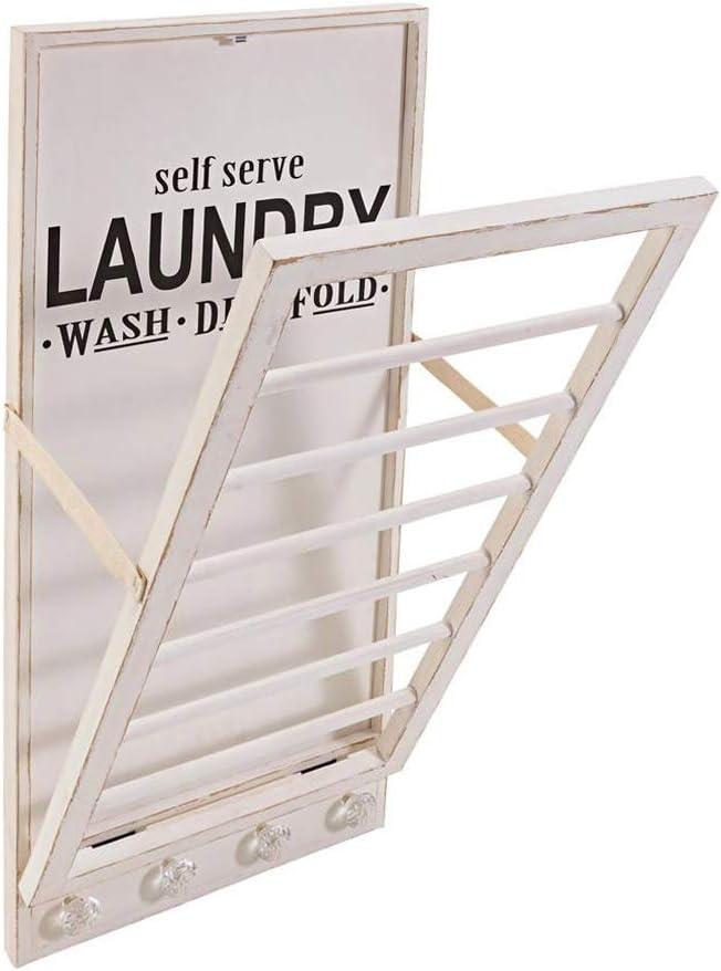 Handtuchhalter LAUNDRY creme weiß shabby chic aus Holz