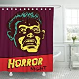 TOMPOP Shower Curtain Horror Night Halloween Party Movie Event with Terrified Vintage Man Face Afraid of Something Creepy Waterproof Polyester Fabric 72 x 72 Inches Set with Hooks