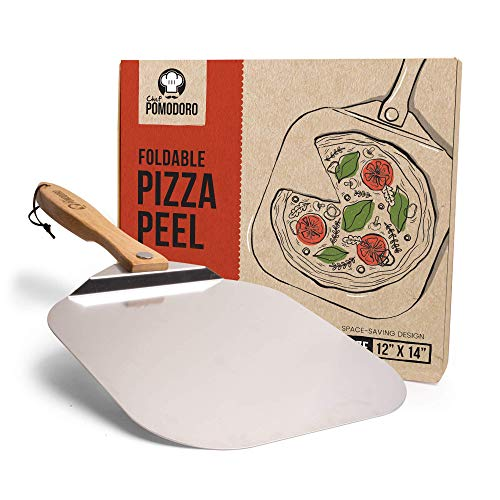 Chef Pomodoro Aluminum Metal Pizza Peel with Foldable Wood Handle for Easy Storage 12-Inch x 14-Inch, Gourmet Luxury Pizza Paddle for Baking Homemade Pizza Bread
