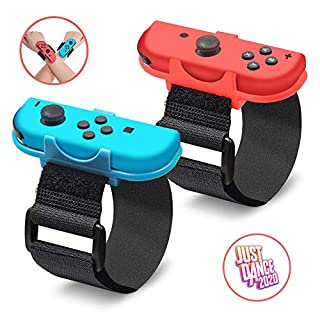 Just Dance 2020, Dance Band Wrist band for Nintendo Switch, Adjustable Hook Loop Elastic Strap for Joy Cons Controller, 2 Pack