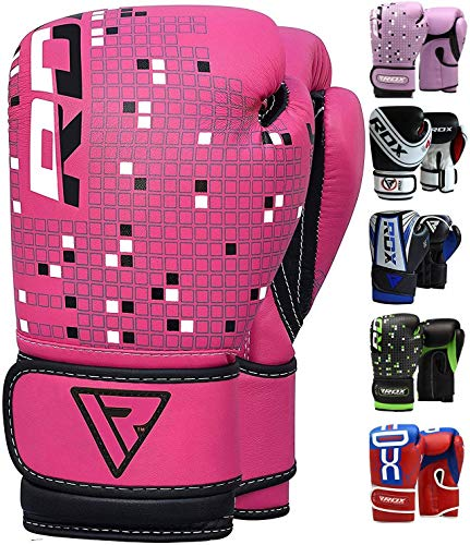 RDX Kids Boxing Gloves Maya Hide Leather 4oz 6oz Junior Punch Bag MMA Training Muay Thai Mitts -