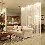 White Fringe Door Window Panel Room Divider String Curtain Strip Tassel