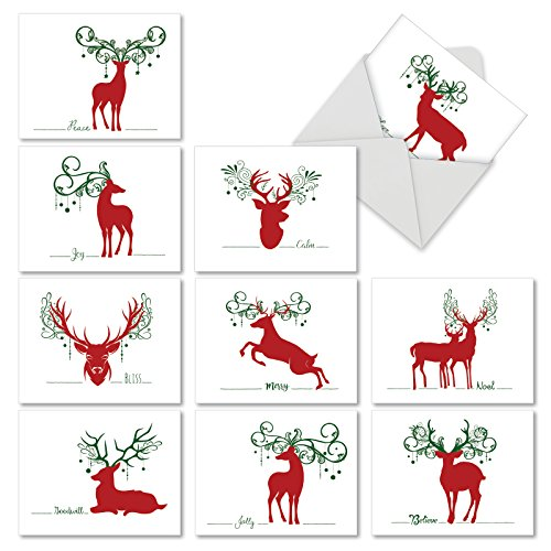 M2937SGG SEASONAL SILHOUETTES: 10 Assorted Seasons Greetings Greeting Cards Featuring Simple Graphic Images of Deer Combined with Sayings of the Holiday Season With Envelopes. -
