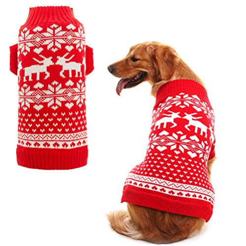 Orangexcel Classic Red Christmas Dog Knitted Sweater with Cute Reindeer for Puppy Pet M