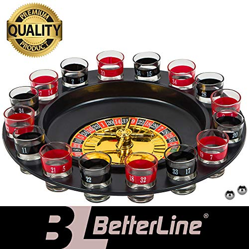 BETTERLINE Shot Glass Roulette Drinking Game Set for with Spinning Wheel, 2 Balls and 16 Shot Glasses - Casino Adult Party Games (Roulette Drink)