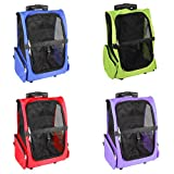 SaveOnMany ® 4-in-1 Pet Carrier Backpack Crate Luggage on Rolling Wheels for Dogs and Cats Travel Tote Airline Approved (2 Colors Available: Blue / Lime Green / Red / Purple)