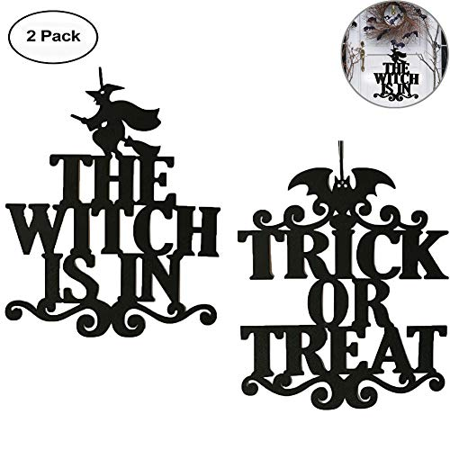 2 Pack Halloween Spooky Hanging Prop, Witch Bat Design Non-Woven Wall Door Hanger Sign Decoration Crafts for Halloween Party Supplies Home Decor (Style A - 2 Pack)]()