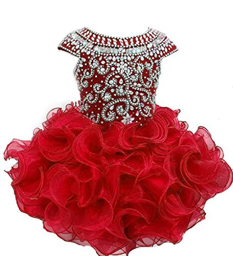 Weiai Toddler Girls' Ruffles Beaded Short Cupcake Pageant Dresses 1/1T US Red ()